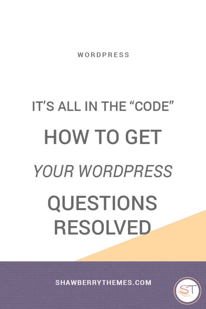 It's all in the code - WordPress