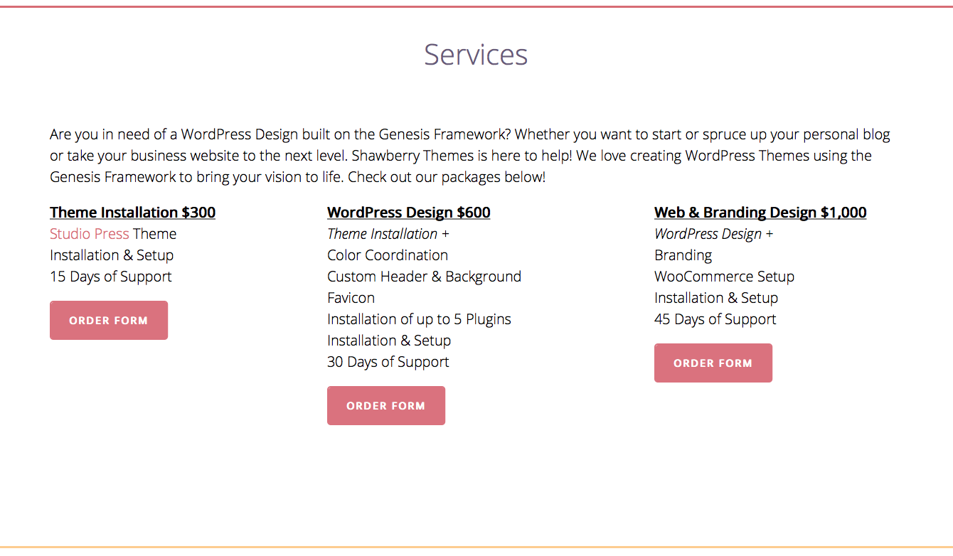 Shawberry Themes services page